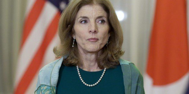 US Ambassador to Japan Caroline Kennedy looks on prior to a dinner held by Japanese Prime Minister Shinzo Abe for former US P