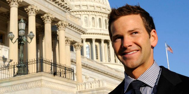 Rep.-elect Aaron Schock, R-Ill., stands on Capitol Hill in Washington, Monday, Nov. 17, 2008, following the freshman class ph