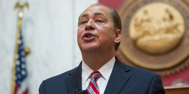 Gov. Earl Ray Tomblin, delivers his annual State of the State speech on Wednesday, Jan. 14, 2015, in Charleston, W.Va. (AP Ph
