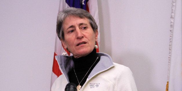 FILE - In this Feb. 17, 2015 file photo, Interior Secretary Sally Jewell speaks in Anchorage, Alaska. The Obama administratio