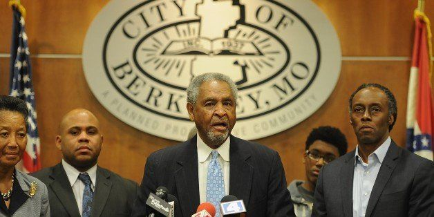 Mayor Theodore Hoskins addresses the media at the City of Berkeley City Hall in Berkeley, Missouri on December 24, 2014. In t