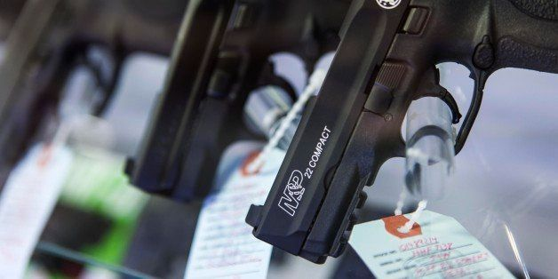 BRIDGETON, MO - NOVEMBER 16 :  Handguns are seen at Metro Shooting Supplies on November 16, 2014 in Bridgeton, Missouri as th