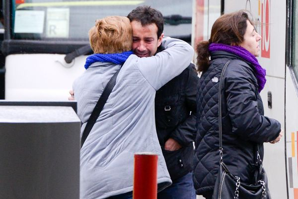 Relatives of passengers of the Germanwings plane crashed in the French Alps arrives at Terminal 2 of the Barcelona El Prat ai