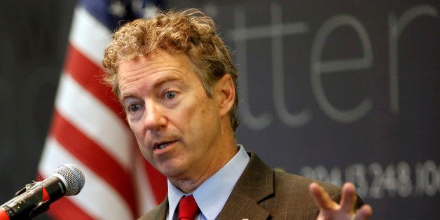 Sen., Rand Paul, R-Ky. speaks to employees during a visit to Dyn, an internet performance company, Friday, March 20, 2015, in