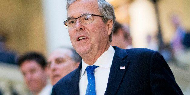 FILE - In this March 19, 2015 file photo, former Florida Gov. Jeb Bush visits the Georgia Capitol in Atlanta. In the Republic