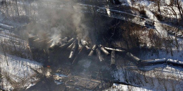 FILE-This aerial Feb. 17, 2015 file photo photo made available by the Office of the Governor of West Virginia shows a deraile