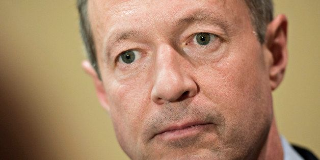 Martin O'Malley, former governor of Maryland and potential Democratic presidential candidate, pauses while speaking to the me