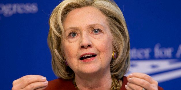 FILE - In this March 23, 2015 file photo, former Secretary of State Hillary Rodham Clinton speaks in Washington. Clinton's fu