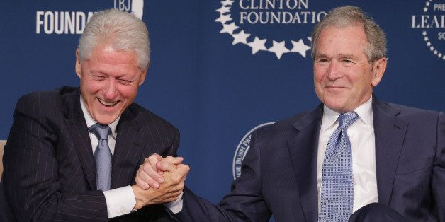 WASHINGTON, DC - SEPTEMBER 08:  Former U.S. presidents Bill Clinton (L) and George W. Bush talk about their hopes for the Pre