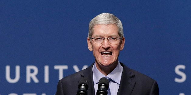 Apple CEO Tim Cook speaks at the White House Summit on Cybersecurity and Consumer Protection in Stanford, Calif., Friday, Feb