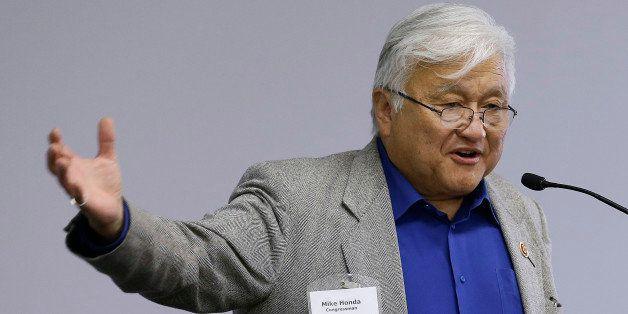 FILE- In this May 2, 2013 file photo, U.S. Rep. Mike Honda speaks during the City of Fremont Legislative Brunch at Tesla moto