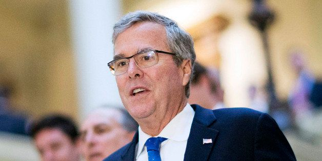 FILE - In this March 19, 2015 file photo, former Florida Gov. Jeb Bush visits the Georgia Capitol in Atlanta. Republicans hop