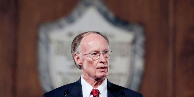 FILE - In this March 3, 2015 file photo, Alabama Gov. Robert Bentley speaks during the annual State of the State address at t