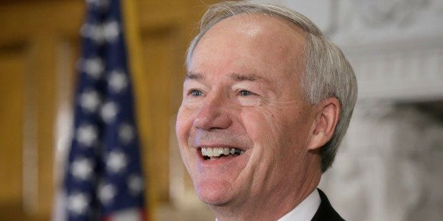 Arkansas Gov. Asa Hutchinson speaks at a news conference in the Governor's Conference Room at the Arkansas state Capitol in L