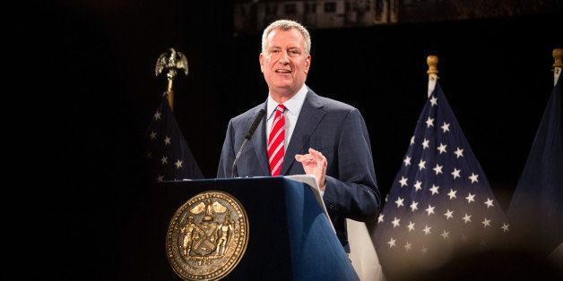NEW YORK, NY - FEBRUARY 03:  New York City Mayor Bill de Blasio delivers his State of the City address at Baruch College on F