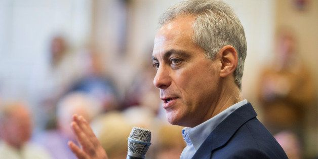 CHICAGO, IL - FEBRUARY 23:  Chicago Mayor Rahm Emanuel talks with residents at a senior living center during a campaign stop