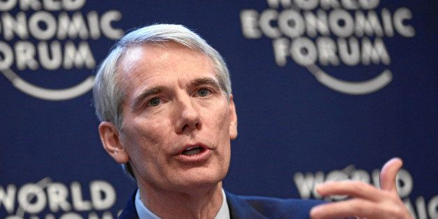DAVOS, SWITZERLAND - JANUARY 24 : Rob Portman, Senator from Ohio (Republican), USA makes a steatment during the session 'Secu