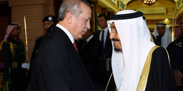 RIYADH, SAUDI ARABIA - MARCH 02: Turkish President Recep Tayyip Erdogan (L) is bid farewell by King of Saudi Arabia, Salman b