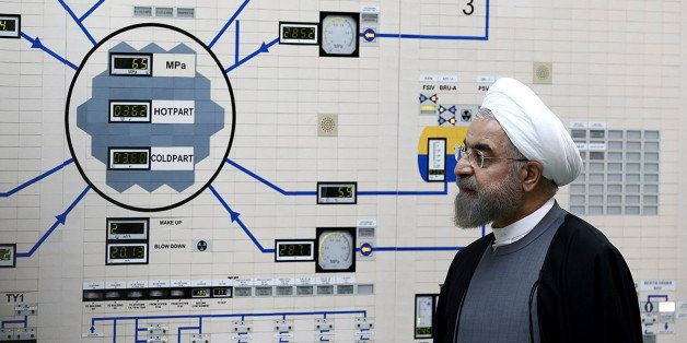 In this photo released by the Iranian Presidency Office, President Hassan Rouhani visits the Bushehr nuclear power plant just
