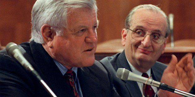 **FILE**Sen. Edward Kennedy, D-Mass., left, and Dr. Judah Folkman of Harvard University' s School of Medicine, meet with repo