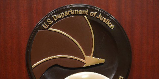 The seal of the Drug Enforcement Administration is seen on a lectern before the start of a press conference at DEA Headquarte