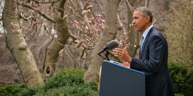 President Barack Obama speaks about the negotiations to curb Iran's nuclear technologies during a statement in the Rose Garde