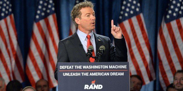 US Senator Rand Paul (R-KY) speaks to supporters during the kickoff of the  National Stand with Rand tour on April 7, 2015 in