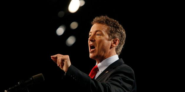 LOUISVILLE, KY - APRIL 7:  Sen. Rand Paul (R-KY) delivers remarks while announcing his candidacy for the Republican president