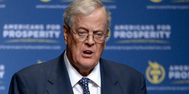 FILE - In this Aug. 30, 2013 file photo, Americans for Prosperity Foundation Chairman David Koch  speaks in Orlando, Fla. Dem