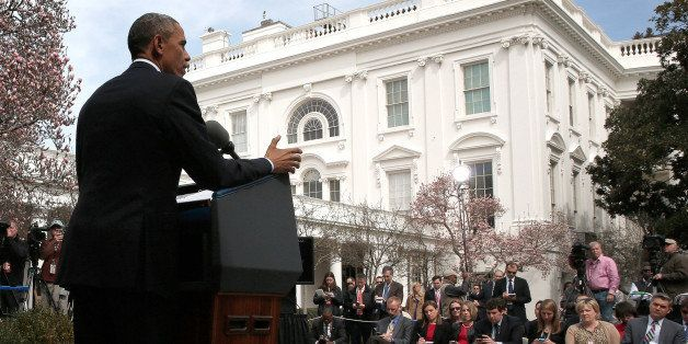 WASHINGTON, DC - APRIL 02:  U.S. President Barack Obama delivers remarks in the Rose Garden of the White House on negotiation