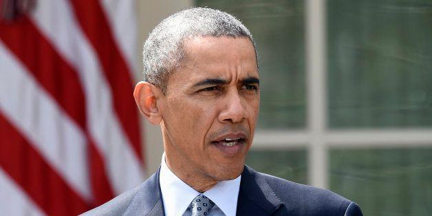 President Barack Obama speaks in the Rose  Garden of the White House in Washington, Thursday, April 2, 2015, about the breakt