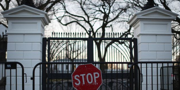 WASHINGTON, DC - MARCH 12: Barricades stand in front of the White House on March 12, 2015 in Washington, DC. Officials are Investigating allegations that two senior Secret Service agents drove a government car into White House security barricades after drinking at a late night party last week. (Photo by Mark Wilson/Getty Images)