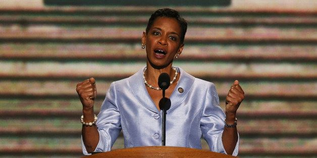 CHARLOTTE, NC - SEPTEMBER 06:  U.S. Rep. Donna F. Edwards (D-MD) speaks on stage during the final day of the Democratic Natio