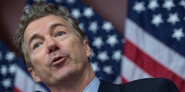 US Republican Senator from Kentucky Rand Paul speaks at a press conference to announce new bipartisan legislation to allow pa