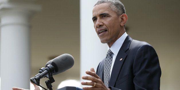 WASHINGTON, DC - APRIL 02:  U.S. President Barack Obama delivers remarks in the Rose Garden of the White House on negotiation