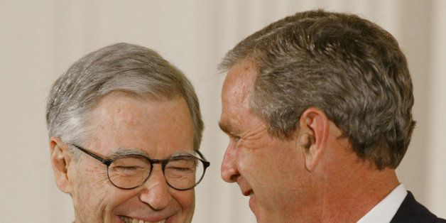 WASHINGTON, DC - JULY 9, 2002:  (FILE PHOTO)  U.S. President George W. Bush presents Fred Rogers (L) with the Presidential Me