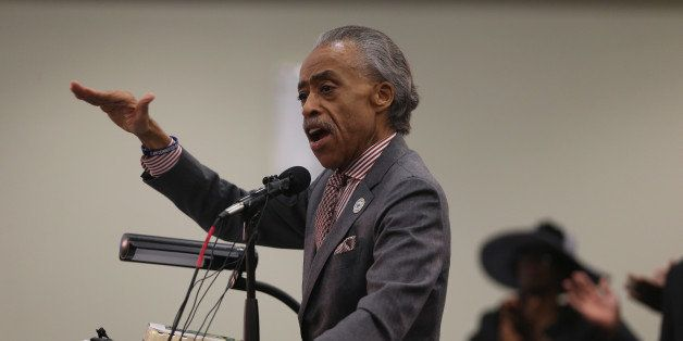 NORTH CHARLESTON, SC - APRIL 12:  Reverend Al Sharpton speaks during a church service at Charity Missionary Baptist Church on