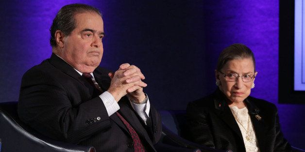 WASHINGTON, DC - APRIL 17:  Supreme Court Justices Antonin Scalia (L) and Ruth Bader Ginsburg (R) wait for the beginning of t