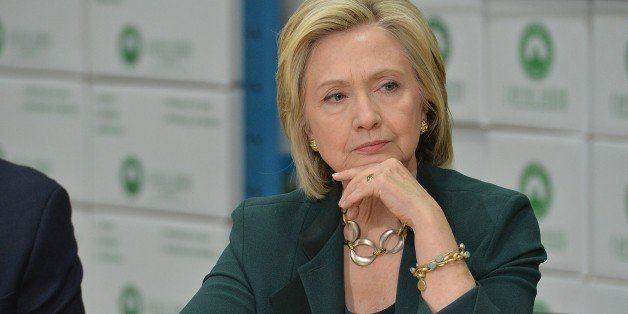 Democratic presidential hopeful and former US Secretary of State, Hillary Clinton participates in a small business roundtable