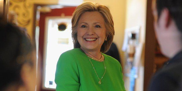 Hillary Clinton has coffee with local residents at the Jones Street Java House during a campaign visit April 14, 2015 in Le C