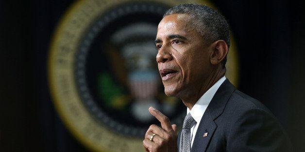 WASHINGTON, DC - APRIL 16:  U.S. President Barack Obama delivers remarks at a Champions of Change event at the Eisenhower Exe