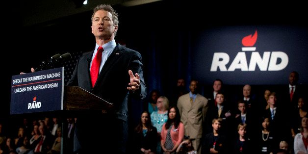 Sen. Rand Paul, R-Ky. announces the start of his presidential campaign, Tuesday, April 7, 2015, at the Galt House Hotel in Lo