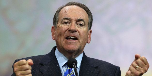 NASHVILLE, TN - APRIL 10: Former Arkansas Gov. Mike Huckabee speaks during the NRA-ILA Leadership Forum at the 2015 NRA Annua