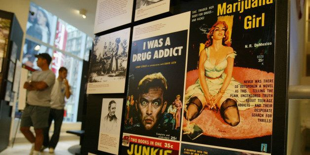 NEW YORK - SEPTEMBER 15: Sensationalized vintage entertainment posters depict drug users at Target America: Drug Traffickers,