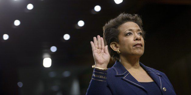 Loretta Lynch is sworn in during her confirmation hearing before the Senate Judiciary Committee January 28, 2015 in Washingto