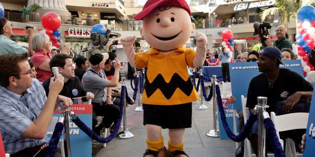 Live Peanuts cartoon characters, including Charlie Brown, participate in a mock presidential election Tuesday, Oct. 7, 2008,