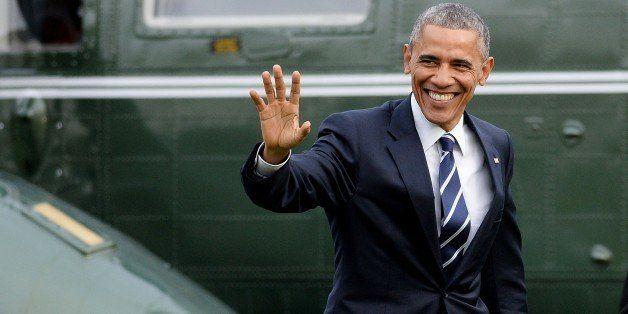 WASHINGTON, DC - APRIL 15: President Barack Obama returns to the White House April 15, 2015 in Washington, DC. Obama is retur