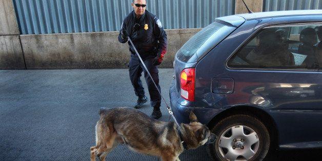 NOGALES, AZ - DECEMBER 10:  U.S. border officer Michael Avelar and drug-sniffing German Shepherd Ali inspect a vehicle enteri
