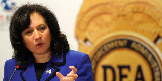 Michele Leonhart, acting administrator of U.S. Drug Enforcement Administration, delivers a speech during...