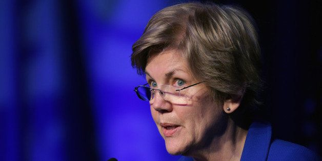 WASHINGTON, DC - APRIL 13:  Sen. Elizabeth Warren (D-MA) delivers remarks during the Good Jobs Green Jobs National Conference